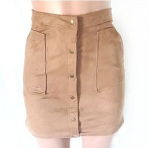 Bar III Brown Faux Suede Button Up Hi-Low Skirt